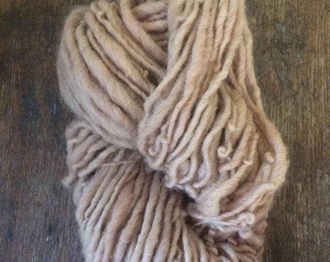 Madder root dyed, handspun naturally dyed local wool yarn,  72 yards single ply bulky weight, peach handspun yarn,