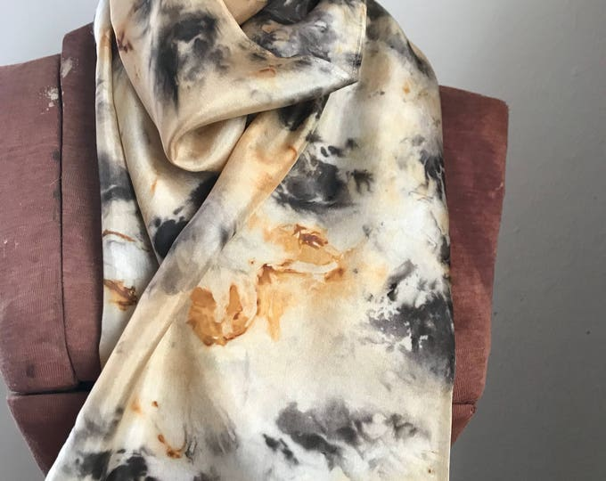 Rust and black walnut - naturally dyed silk scarf 23
