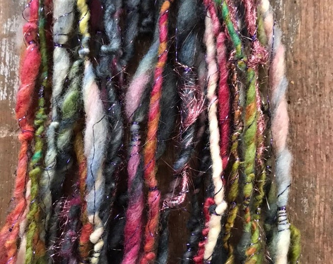 Sweet Dreams (Are Made of These)  light bulky multicolored wool yarn, 30 yards handspun, wrapped yarn, sparkle yarn