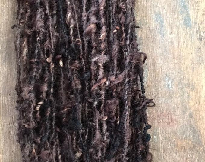 Sable - brown handspun bulky wool yarn, 20 yards, curly textured yarn, doll hair, weaving, felting