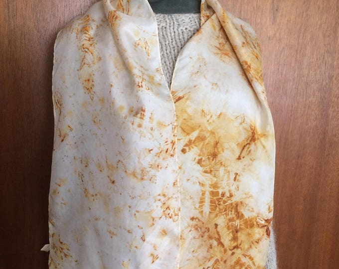 Rust dyed naturally dyed silk scarf with patterning 25