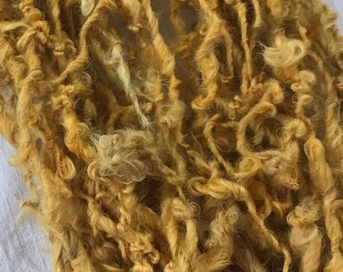 Goldilocks, 20 yards handspun yarn, yellow art yarn, lockspun yarn, curly handspun yarn,