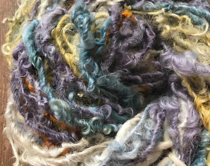 Sassypants - mixed colors Lincoln Locks, 50 yards handspun yarn, lockspun yarn, curly handspun yarn, curly art yarn
