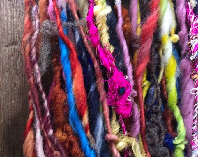 Stuck In The Middle With You, wild art yarn, 50 yards, multicolored textured art yarn, handspun, bulky wild yarn, weaving yarn