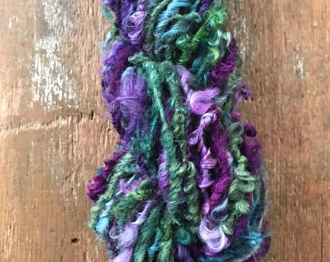 Paradise - multicolored handspun bulky wool yarn, 50 yards, curly textured yarn, doll hair, weaving, felting