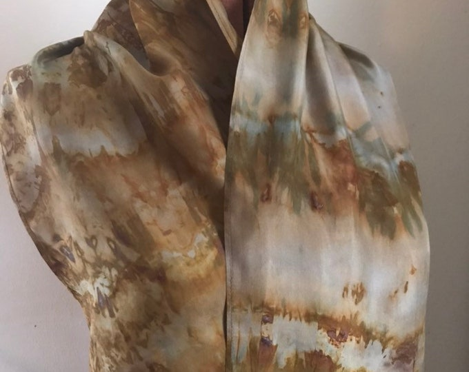Rust and indigo  naturally dyed silk scarf with patterning 47