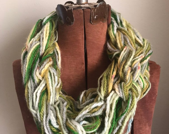 Fern Cowl -  textured handknit bulky cowl, ready to ship, bulky lightweight warm oversized cowl