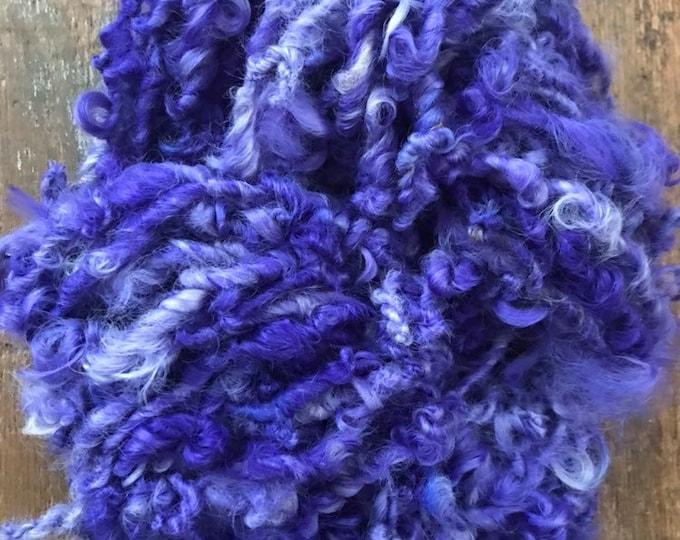 Violet Beauregarde - purple handspun bulky wool yarn, 50 yards, curly textured yarn, doll hair, weaving, felting