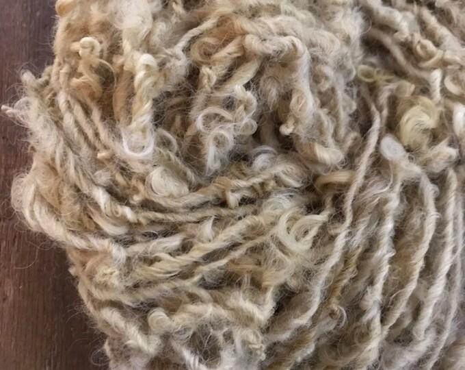Pale tan yellow, naturally dyed Lincoln wool locks yarn, 20!yards, bulky chunky curly handspun rustic art yarn