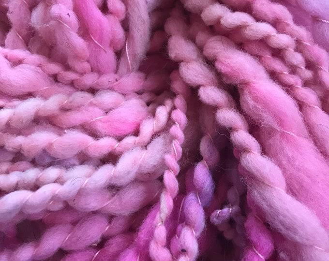 Pink two ply wool yarn, 50 yards handspun wool yarn, bulky textured art yarn, undyed art yarn, wavy art yarn