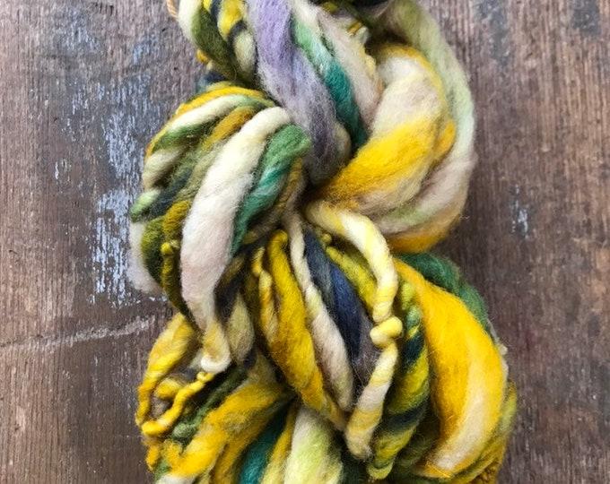 Blame it On the Rain - handspun bulky yarn, 32 yards, bulky yarn, rustic art yarn, chunky yarn, wool handspun yarn
