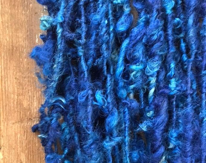 Royal, handspun art yarn, blue curly art yarn, lockspun chunky yarn, 50 yards, locally produced wool yarn