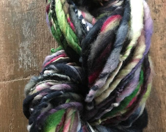Spring Thunder - handspun bulky yarn, 62 yards, bulky yarn, rustic art yarn, chunky yarn, wool handspun yarn
