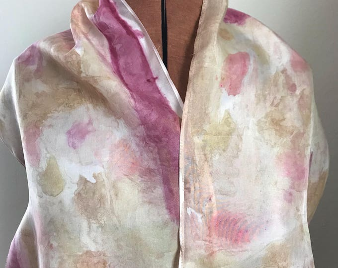 Handpainted naturally dyed silk scarf - unique, one of a kind, plant dyed eco friendly fashion 06