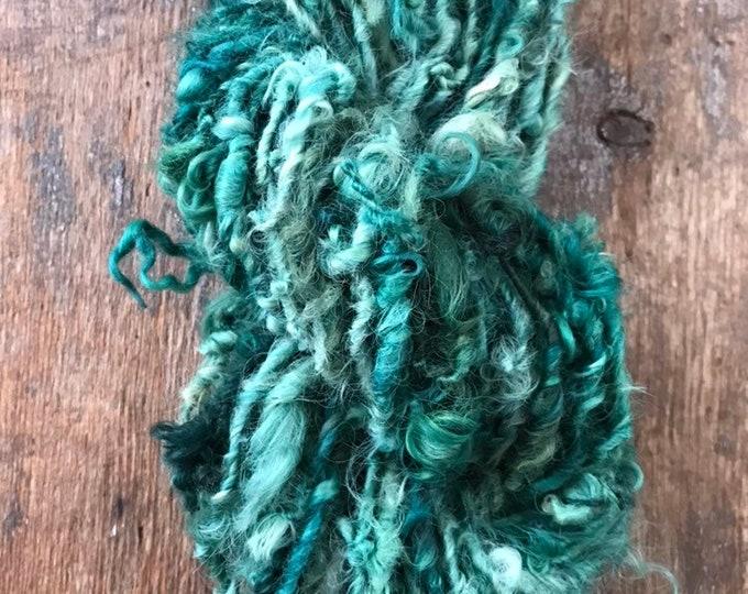Malachite - green Lincoln Locks, 50 yards handspun yarn, lockspun yarn, curly handspun yarn, curly green art yarn