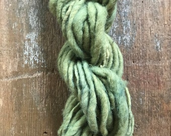 Plant dyed, handspun naturally dyed local wool yarn, 30 yards single ply bulky weight, green handspun yarn