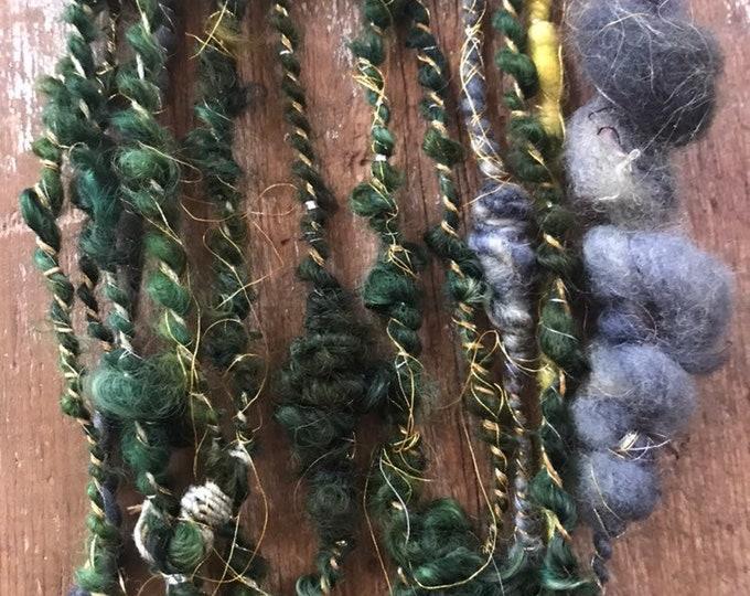The Wanderer -  bulky art yarn, multicolored wool yarn, 13 yards handspun, wrapped yarn, sparkle yarn, coiled yarn