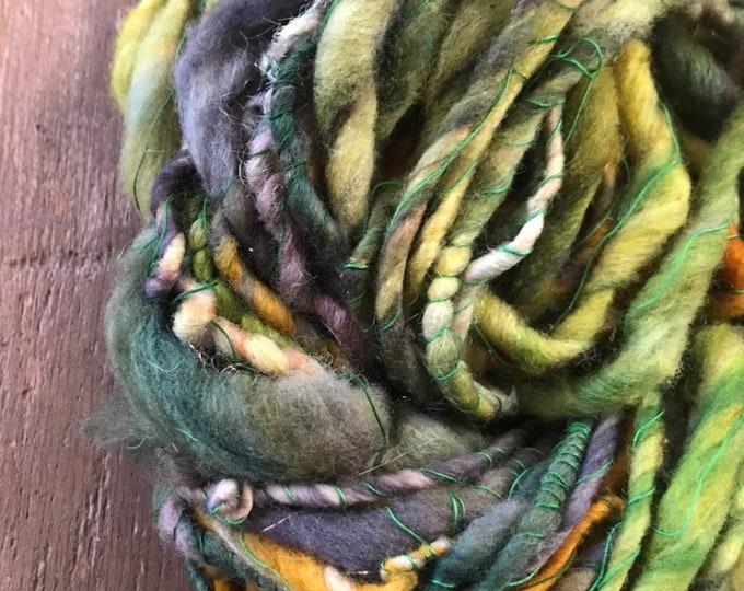 Welcome to the Jungle bulky green wool yarn, 50 yards handspun, green yarn, sparkle yarn, wrapped art yarn