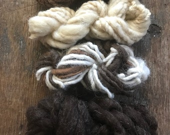 Four skeins all natural color Handspun mini skeins texture pack yarn 40 yards handspun lot set