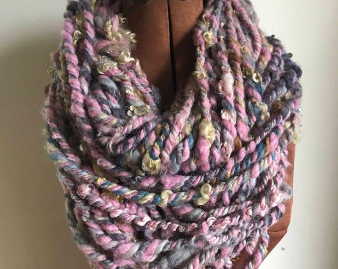 Feelin' Good, jumbo wild art yarn, 44 yards, pink and purple three ply textured art yarn, handspun, bulky wild yarn, weaving yarn