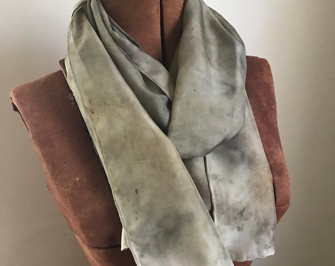 Basil and goldenrod naturally dyed silk scarf 38