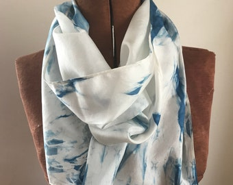 Indigo naturally dyed silk scarf 02