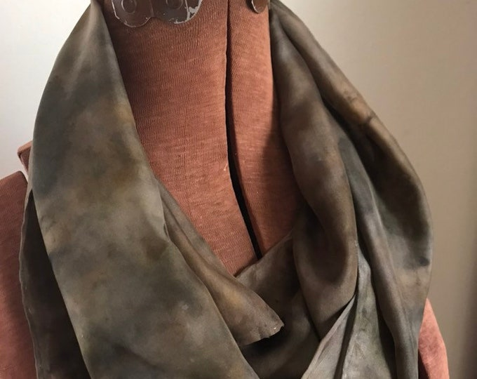 Ecoprint - midwest leaves - naturally dyed silk scarf 45
