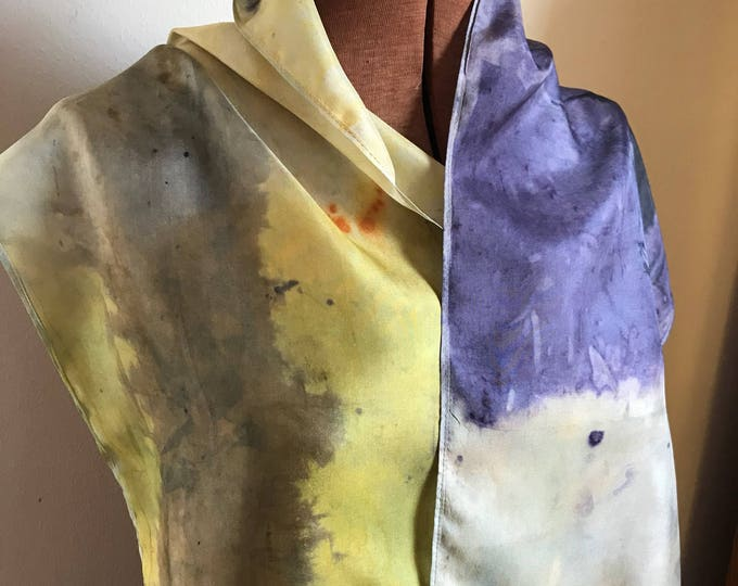 Handpainted naturally dyed silk scarf - unique, one of a kind, plant dyed eco friendly fashion. 15