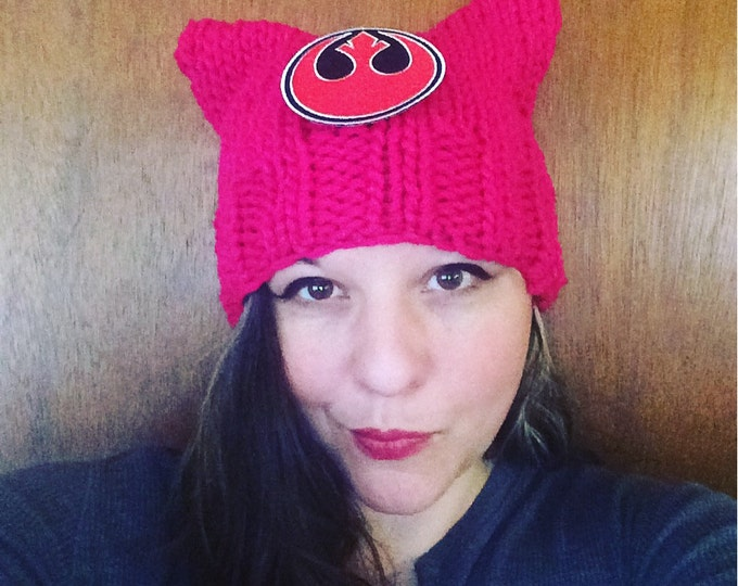 Pussycat hat geek edition Star Wars rebel alliance patch  pussyhat womens march feminist kitty cat knit hat pussy hat kitten