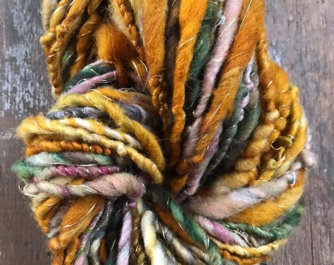 Footloose light bulky ochre and slate wool yarn, 30 yards handspun, art yarn, sparkle yarn