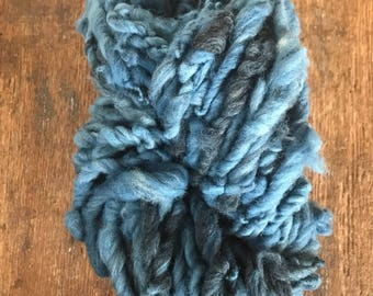 Indigo dyed, handspun bulky yarn, 50 yards, bulky yarn, rustic art yarn, chunky yarn, wool handspun yarn