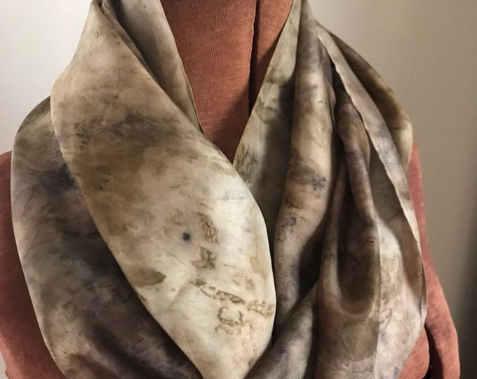 Ecoprint - midwest leaves - naturally dyed silk scarf 44