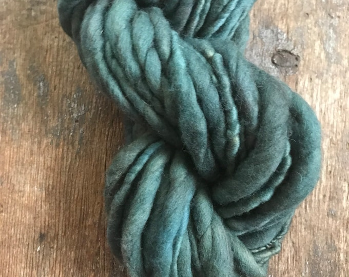 Indigo and hackberry leaf dyed, medium blue handspun luxury yarn, 30 yards, chunky weight handspun, plant dyed, green yarn, botanical