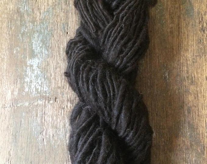 Natural dark brown alpaca handspun yarn, undyed handspun yarn, 50 yards, super soft single ply yarn, great for weaving, knitting, doll hair
