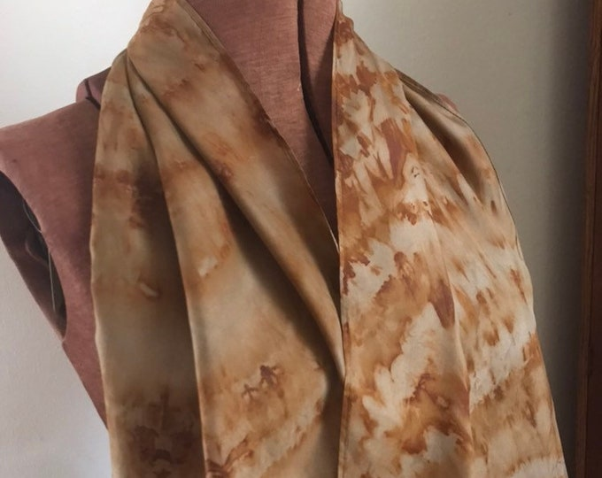 Rust dyed naturally dyed silk scarf with patterning 46