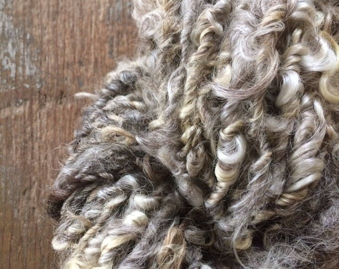 Grey curly yarn, 50 yards, undyed bulky art yarn, natural grey wool yarn, rustic wool yarn, textured yarn,