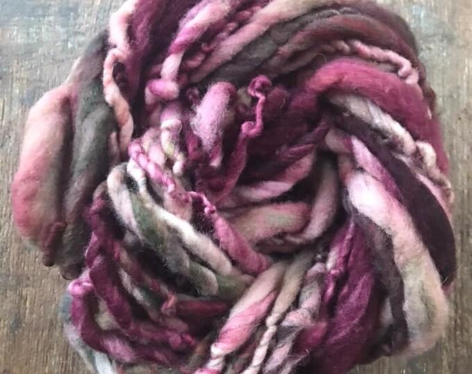 Kiss The Girl - handspun bulky yarn, 30 yards, bulky yarn, rustic art yarn, chunky yarn, wool handspun yarn