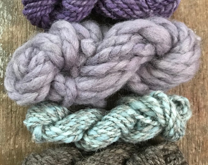Four mini skeins, undyed and natural dyes textured handspun miniskein texture pack yarn, 40 yards, art yarn set, weaving yarn set, textured