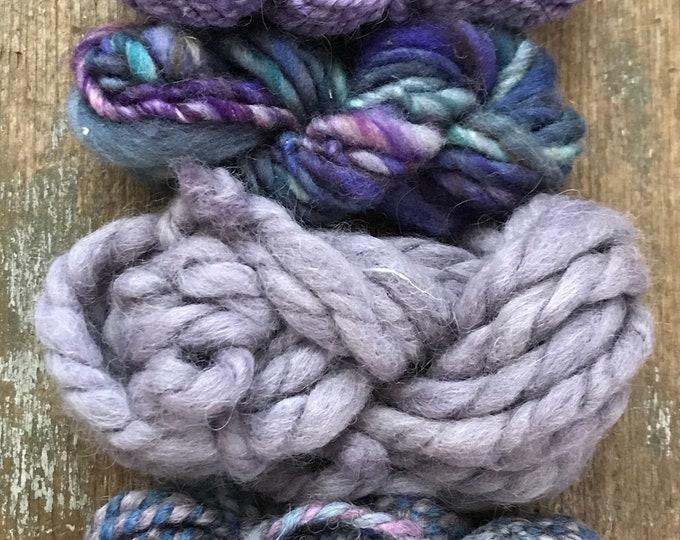 Four mini skeins, textured handspun miniskein texture pack yarn, 40 yards, art yarn set, weaving yarn set, textured