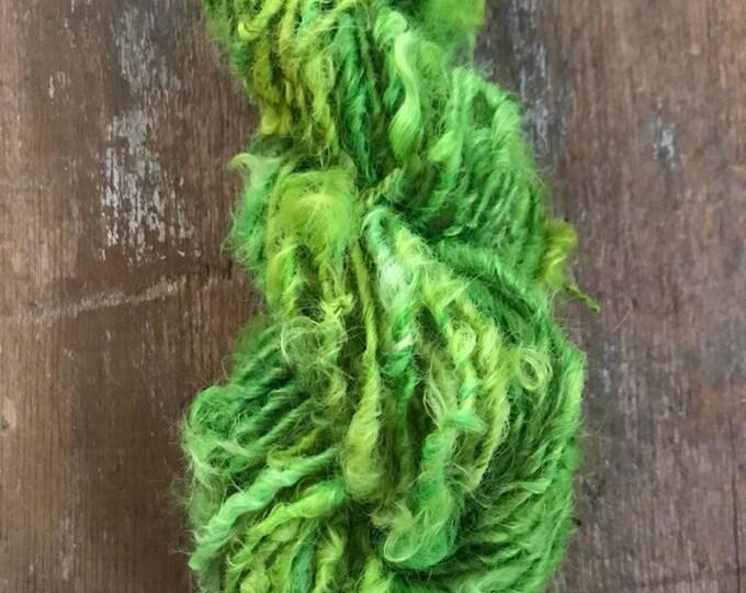 You're A Mean One, Mr. Grinch  - green Lincoln Locks, 50 yards handspun yarn, lockspun yarn, curly handspun yarn, curly green art yarn