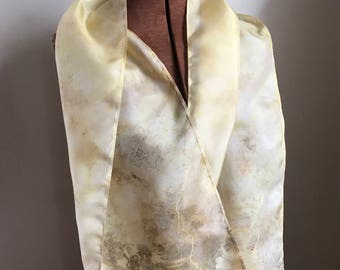 Queen Anne's Lace naturally dyed silk scarf 001