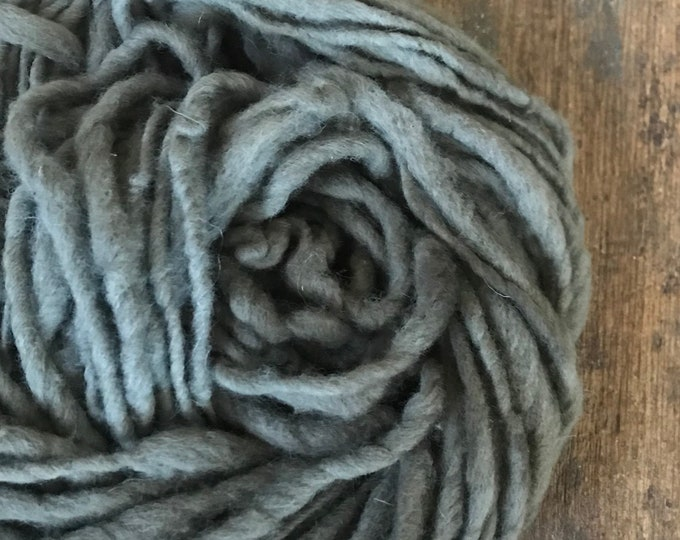 Lavender/copper/iron dyed, handspun naturally dyed local wool yarn, 30 yards single ply bulky weight, grey handspun yarn