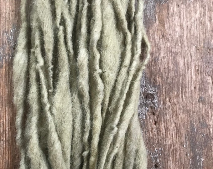 Black eyed Susan dyed, handspun naturally dyed local wool yarn, 30 yards single ply bulky weight, green handspun yarn