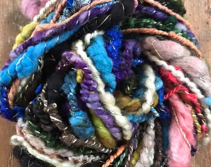 Hit The Road Jack -  bulky art yarn, multicolored wool yarn, 30 yards handspun, wrapped yarn, sparkle yarn, coiled yarn