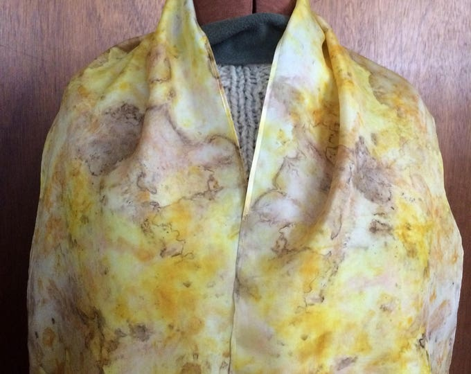 Black walnut, turmeric, and madder root - naturally dyed silk scarf 17