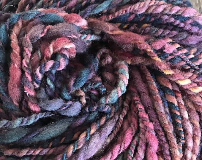 Rock On - handspun bulky two ply yarn, local cormo and suffolk wools, 102 yards, smoky jewel tones