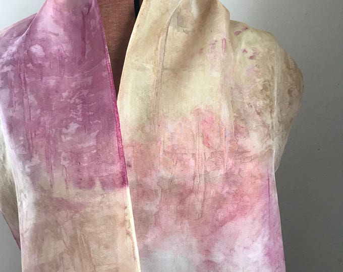 Handpainted naturally dyed silk scarf - unique, one of a kind, plant dyed eco friendly fashion 16