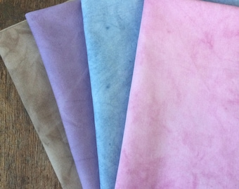 Naturally dyed vintage cotton fat quarter pack,hand dyed fabric, fat quarter set, indigo dyed cotton, plant dyed fabric, play cottons