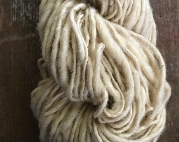 White handspun yarn, 100 yards bulky white yarn, rustic handspun yarn, undyed art yarn, local wool yarn