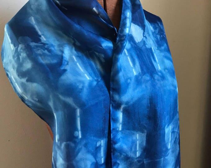 Indigo naturally dyed silk scarf